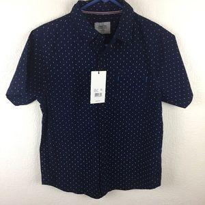 Boys Level Ten Dress Shirt Navy Blue Med 10 12 NWT
